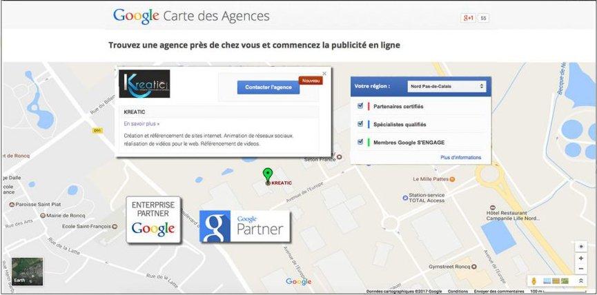 Kreatic apparaît sur la carte des partenaires Google
